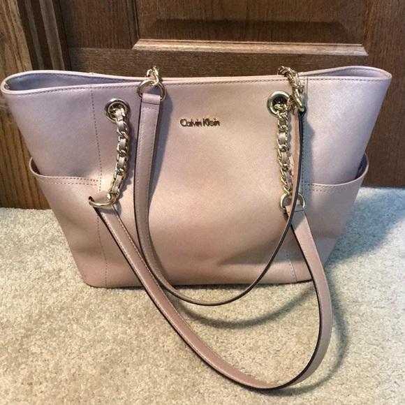 2eadac60b2 Calvin Klein Handbags - Calvin Klein saffiano leather chain link tote
